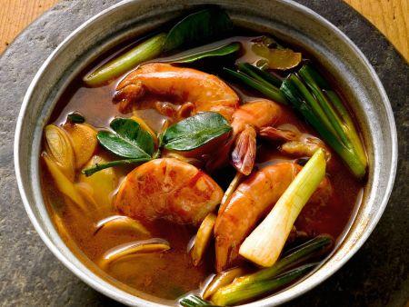 Garnelensuppe mit Lauchzwiebeln auf Thai-Art