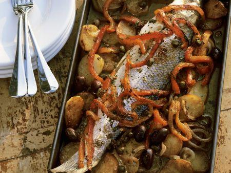 Gebackener Fisch auf italienische Art