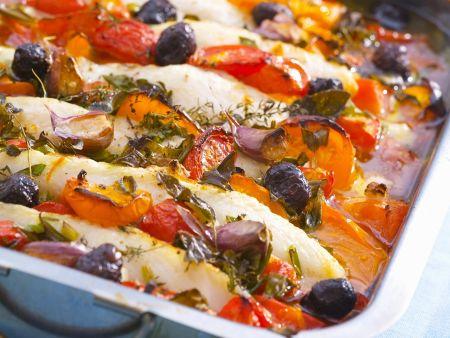 Gebackener Fisch mit Gemüse