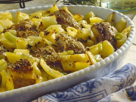 Gebackener Waller mit Paprika und Kartoffeln