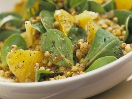 Gebratener Buchweizen mit fruchtigem Feldsalat