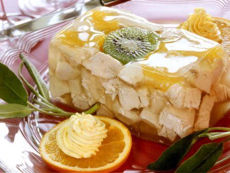 Rezept: Geflügelgelee mit Orange, Kiwi und Salbei