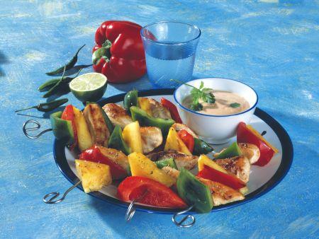 Geflügelspieße mit Papaya-Chili-Dip