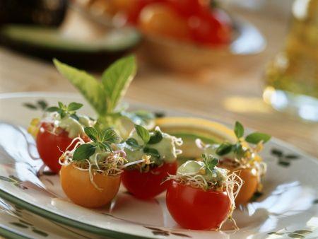 Gefüllte Cherrytomaten mit Sprossen und Avocadomus