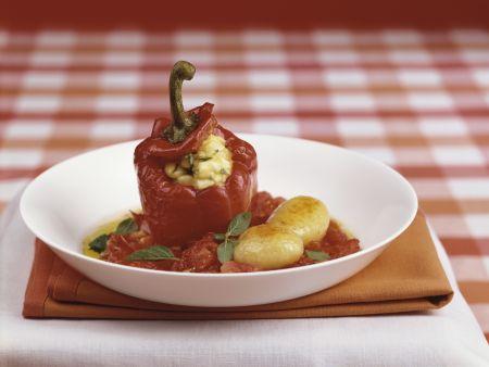 Gefüllte Paprikaschote mit Tomatensoße und gebratenen Kartoffeln