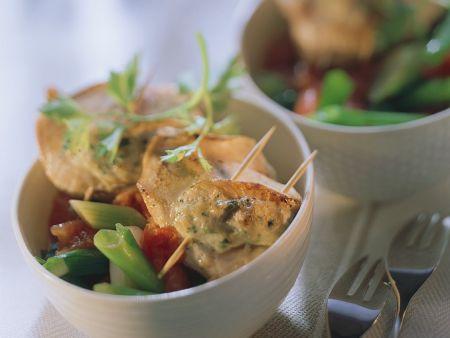 Gefüllte Putenschnitzelchen mit Gemüse