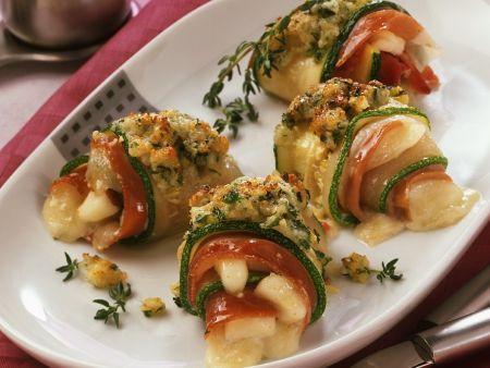 Gefüllte Zucchiniröllchen