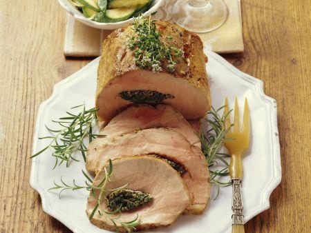 Rezept: Gefüllter Schweinebraten mit Zucchini