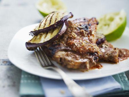 Rezept: Gegrillte Koteletts mit Auberginen