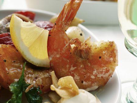 Gegrillte Shrimps mit Knoblauchmayonnaise