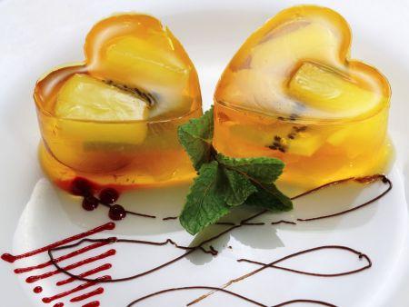 Gelee-Herzen mit Obst