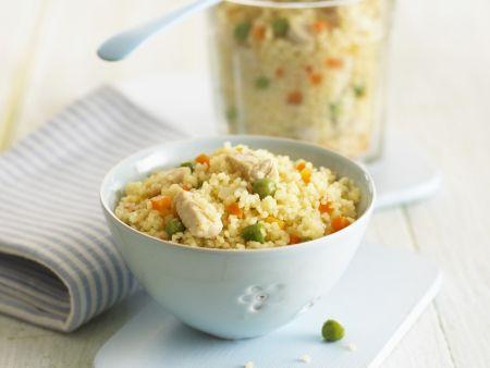 Gemüse-Couscous mit Hähnchen