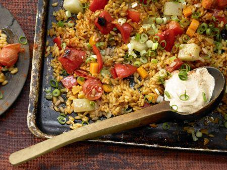 Gemüse-Reis-Pfanne aus dem Ofen