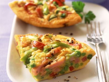 Rezept: Gemüse-Schinken-Omelett