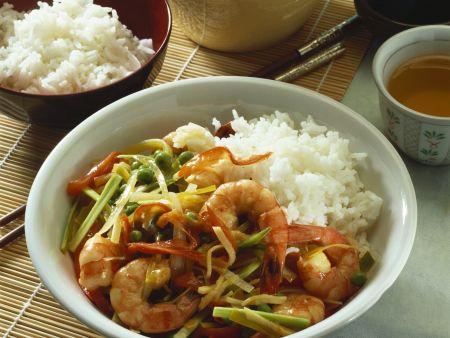 Gemüse-Shrimps-Pfanne mit Reis