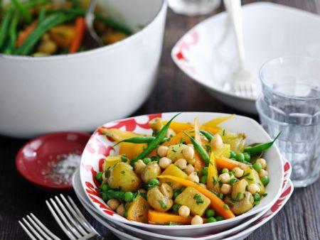 Gemüseeintopf mit Kichererbsen und grünen Bohnen