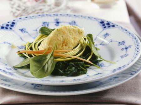 Gemüsenockerl mit frischem Spinat