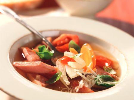 Gemüsesuppe mit Schinken