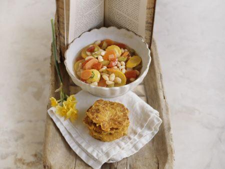 Gemüsesuppe und Reibekuchen