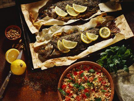Gewürz-Lachsforellen mit Couscous