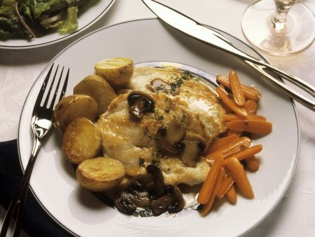 Rezept: Gratinierte Hähnchenbrust und Pilz-Masala-Soße