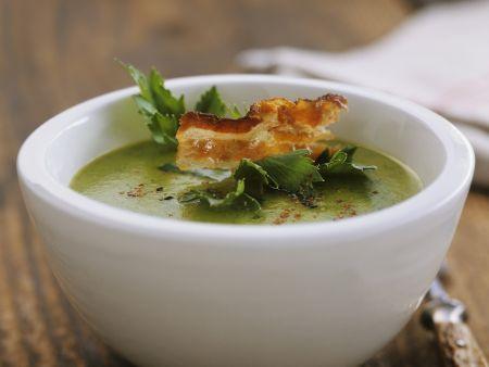 Grüne Sellerie-Kartoffel-Suppe mit Bacon