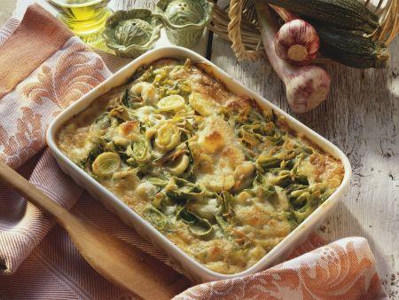 Rezept: Grüner Nudelauflauf mit Gemüse