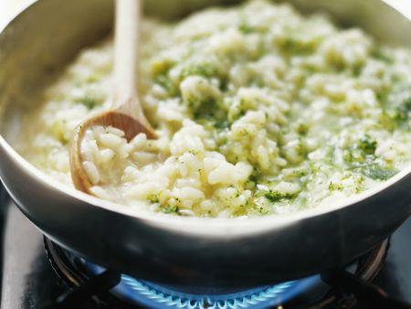Grünes Risotto mit Pesto aus Feldsalat und Spinat