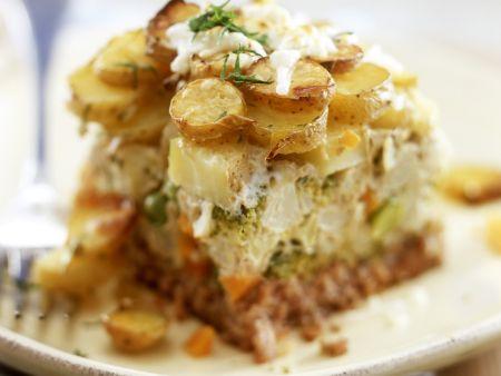Hackfleischauflauf mit Kartoffeln, Brokkoli und Blumenkohl