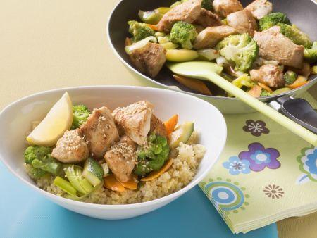 Hähnchen-Gemüse-Pfanne mit Couscous