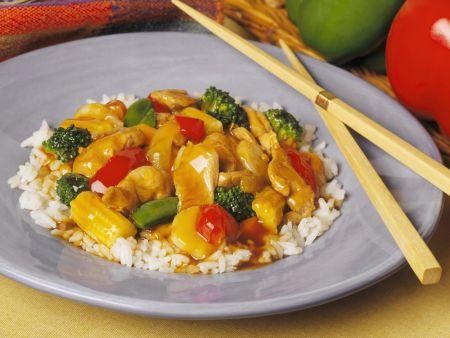 Hähnchen-Gemüse-Ragout mit Reis
