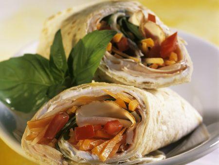 Hähnchen-Gemüse-Wraps