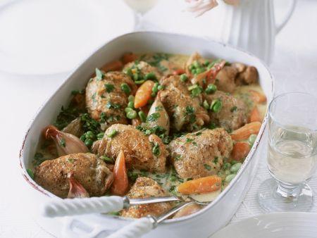 Hähnchen geschmort mit Gemüse
