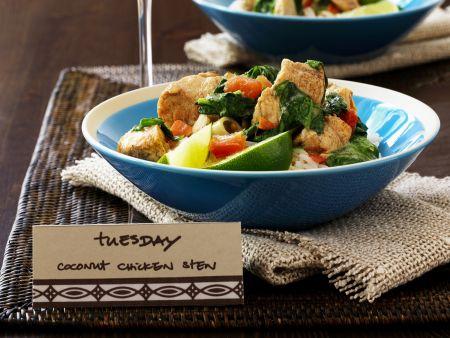 Hähnchen-Geschnetzeltes mit Kokos und Gemüse