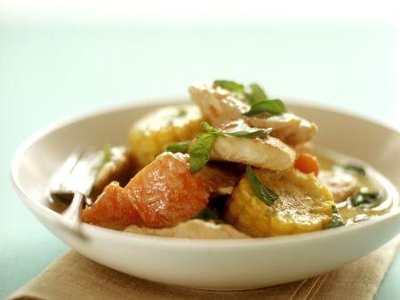Hähnchen-Kürbis-Curry mit Mais