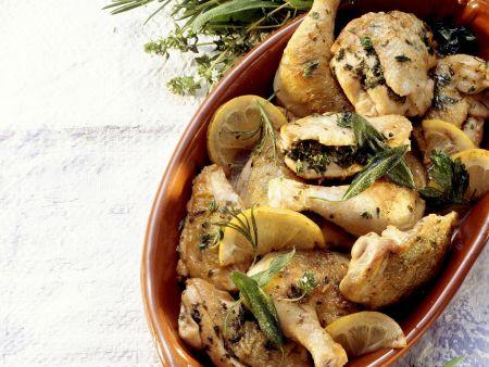 Rezept: Hähnchen mit Zitrone und Kräutern