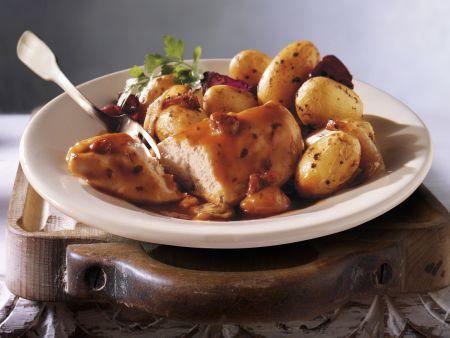 Hähnchenbrust mit Speck und Kartoffeln