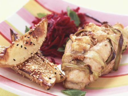 Hähnchenbrust mit Walnüssen gefüllt dazu Sesamkartoffeln