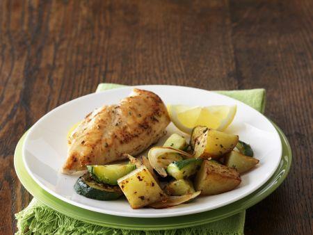 Rezept: Hähnchenfilet mit Kartoffeln und Zucchini