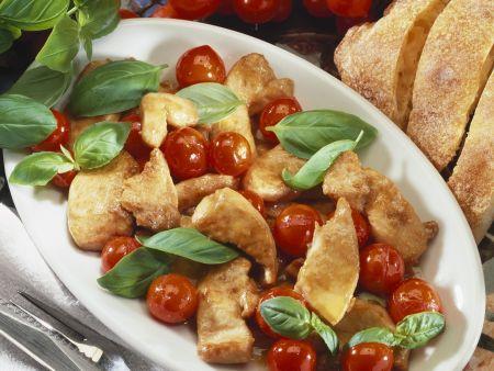 Rezept: Hähnchenpfanne mit glasierten Cherrytomaten