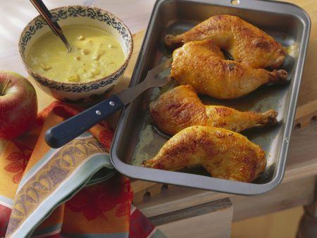 Rezept: Hähnchenschlegel mit pikanter Bananen-Apfel-Soße
