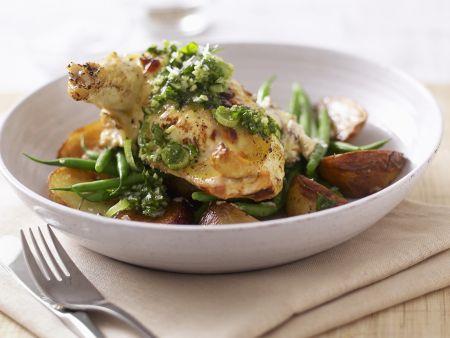 Hähnchenschlegel mit Ricotta gefüllt dazu Gemüse