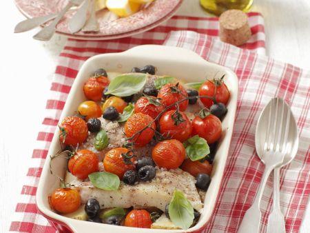Heilbuttfilet mit Kirschtomaten und Oliven
