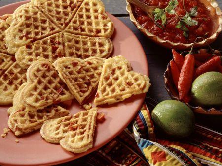 Herzhafte Maiswaffeln mit Paprikagemüse
