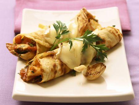 Herzhafter Crêpe mit Käse und Austernpilzen