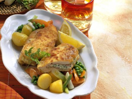 Hühnchen-Cordon-Bleu mit gemischtem Gemüse