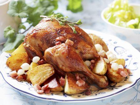Hühnchen mit Speck-Kartoffeln und Perlzwiebeln