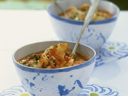 Italienische Tomaten-Brot-Suppe mit Garnelen