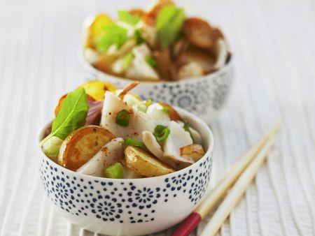 Kabeljau mit Bratkartoffeln und Thailändischem Basilikum