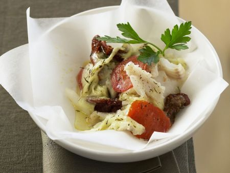 Kabeljaufilet mit Tomaten und Mozzarella